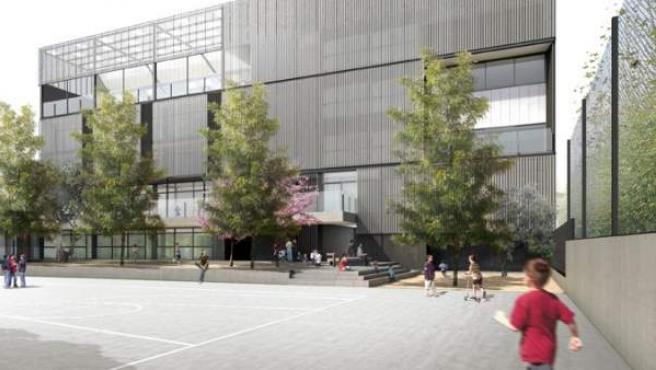 Imatge de com serà el pati del nou edifici de la innovadora escola barcelonina CEIP Encants, a l'entorn de la plaça de les Glòries.