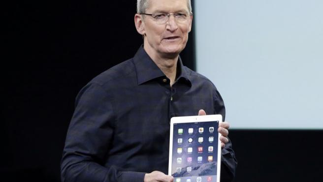 Tim Cook, en la presentación de Apple iPad Air 2 en octubre de 2014.