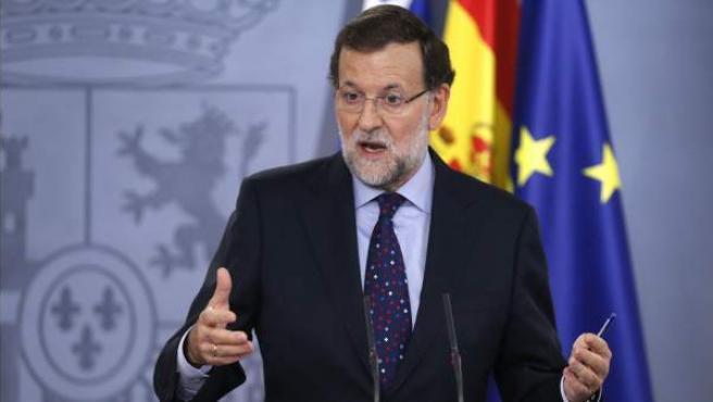 El presidente del Gobierno español, Mariano Rajoy, durante una rueda de prensa en la Moncloa.