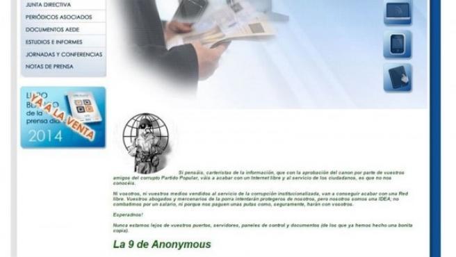 Mensaje de Anonymous en la web de AEDE.
