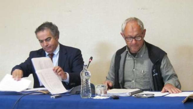 Roberto Hartasánchez, presidente de Fapas y su abogado, Sergio Noval