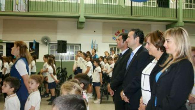 Martínez, durante un acto en su visita al colegio.