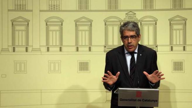 El consejero de Presidencia y portavoz del Ejecutivo catalán, Francesc Homs, en rueda de prensa.