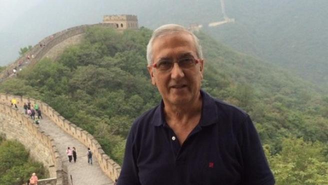 El entrenador de fútbol jienense Gregorio Manzano, durante una visita a la Gran Muralla china.