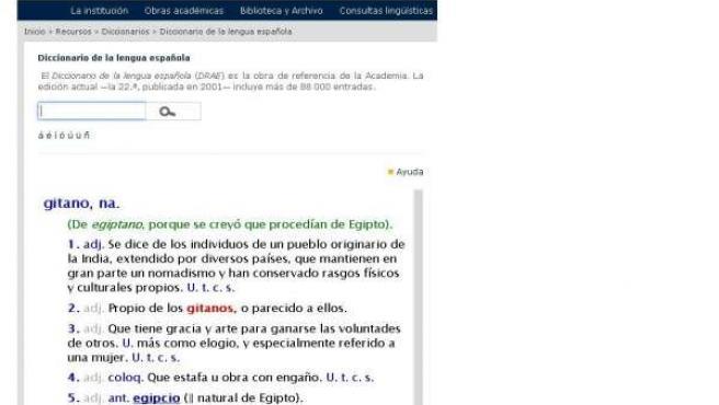 Acepción 'Gitano' en el diccionario de la RAE
