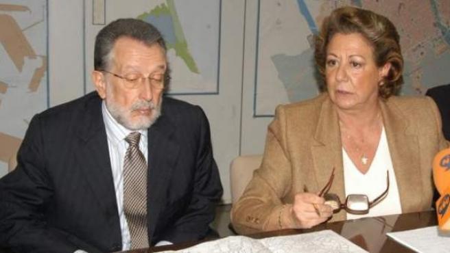 Alfonso Grau y Rita Barberá en un acto sobre el Parque Central de Valencia.