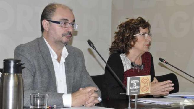 Javier Lambán y María Victoria Broto