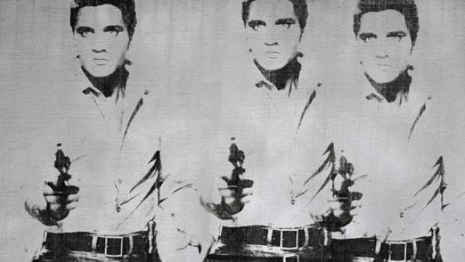 """Fotografía cedida por Christie's, que muestra la obra """"Triple Elvis"""" de Andy Warhol."""