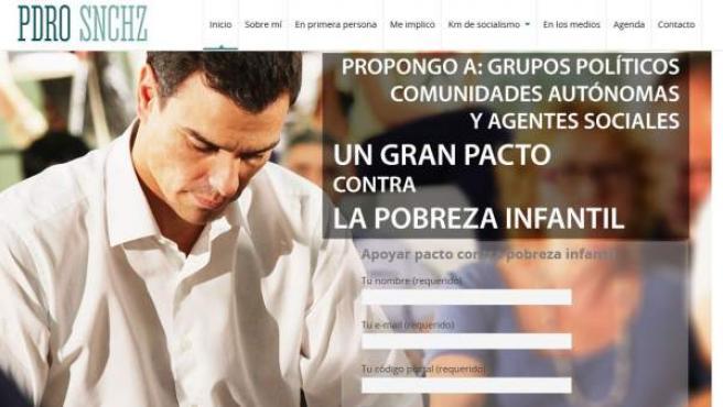 Así se ve la portada de la nueva página web del secretario general del PSOE, Pedro Sánchez.