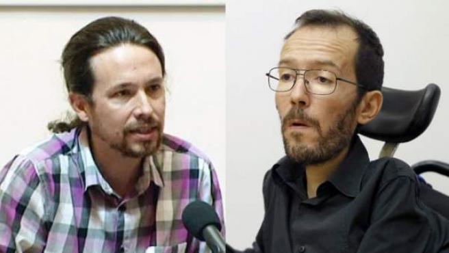 Combo de imágenes de Pablo Iglesias y Pablo Echenique, dos de los líderes de Podemos.