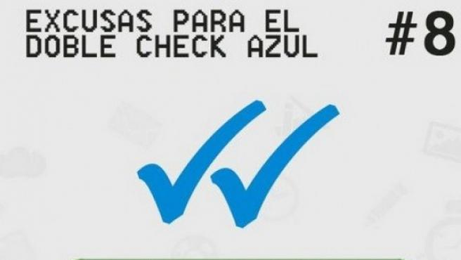 Meme del doble check azul de Whatsapp
