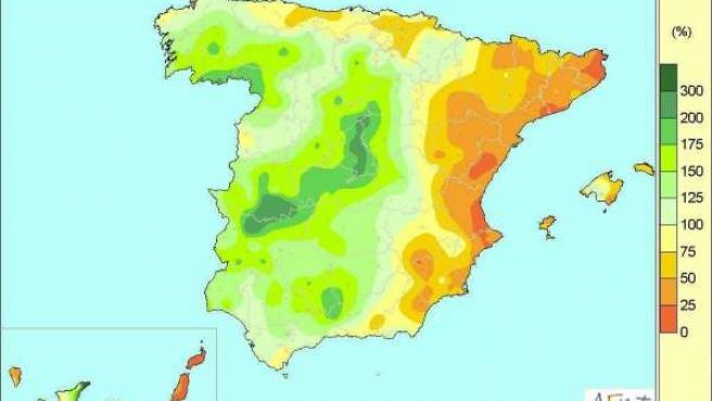 Precipitaciones registradas en España entre el 4 y el 11 de noviembre de 2014