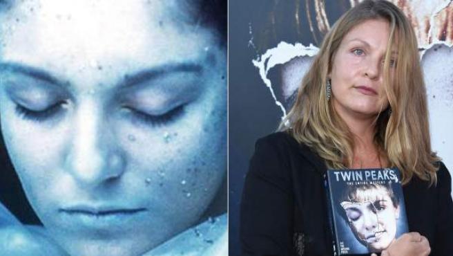 Sheryl Lee, como Laura Palmer en los días de la serie 'Twin Peaks' (izda) y en una imagen de este 2014.