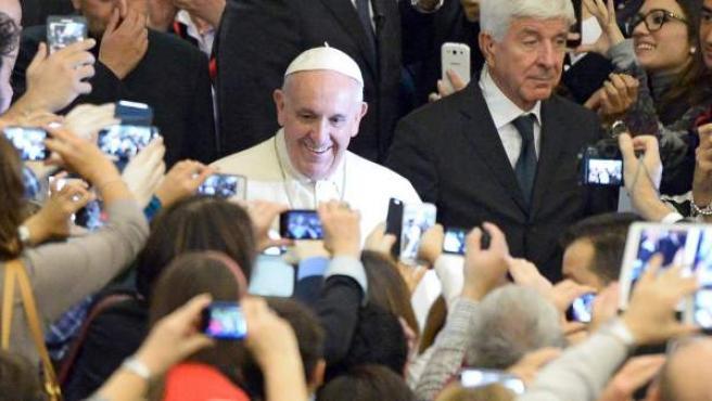 Audiencia entre el papa Francisco y la Asociación de Médicos Católicos italianos en el Vaticano.