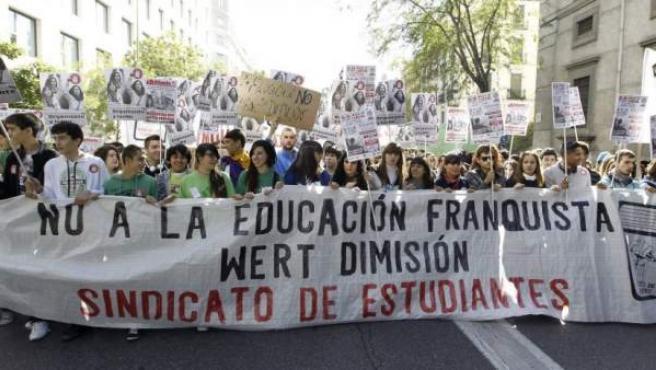 Imagen de archivo de una manifestación del Sindicato de Estudiantes contra el ministro Wert, en Madrid.
