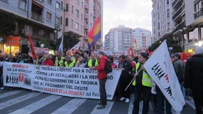 Cabecera de las Marchas de la Dignididad en Valencia.