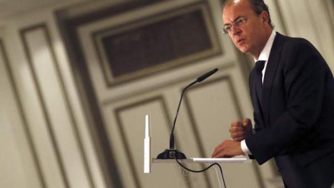 """El presidente de la Junta de Extremadura, José Antonio Monago, durante la conferencia """"Extremadura, la región emergente de España."""
