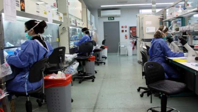 Tres investigadoras en el laboratorio del Instituto de Investigación del Sida (Irsicaixa), ubicado en el Hospital Germans Trias i Pujol, de Badalona (Barcelona).