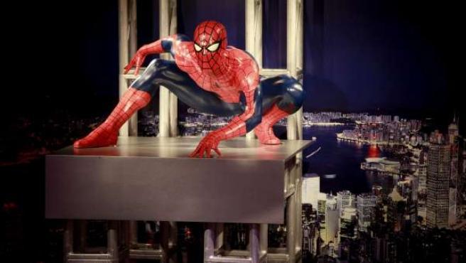 El popular hombre araña Spiderman, en este caso, hecho de cera.