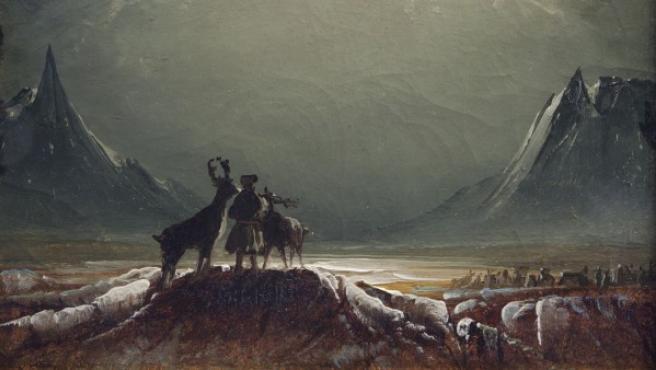 Óleo sobre papel de un paisaje ártico de Peder Balke pintado en torno a 1850