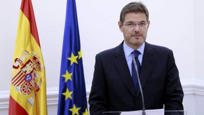 El ministro de Justicia, Rafael Catalá, este 9-N en una breve comparecencia hecha para valorar la jornada en Cataluña.