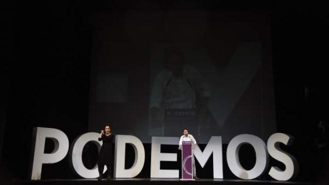 Imagen general de Pablo Iglesias, durante su discurso en el acto de clausura de la Asamblea Ciudadana de Podemos.
