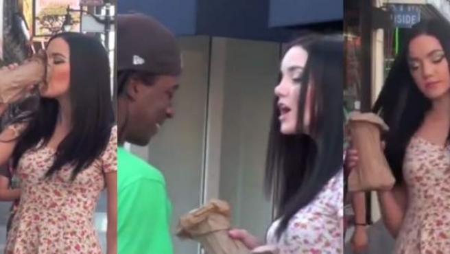Diferentes momentos del vídeo 'Drunk Girl in Public'.