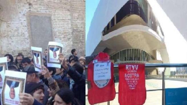 Portestas de trabajadores de RTVV en Xàtiva y en el Palau de les Arts