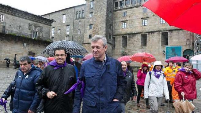 El vicepresidente de la Xunta, Alfonso Rueda, este domingo en la marcha