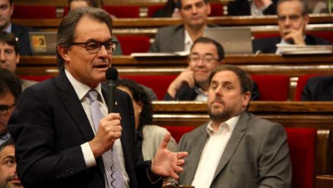 El presidente de la Generalitat, Artur Mas, durante su intervención en la sesión de control al Ejecutivo catalán que da inicio al Pleno del Parlamento.