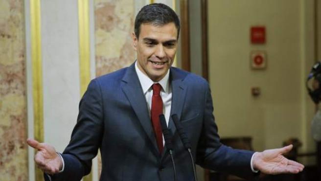 El secretario general del PSOE, Pedro Sánchez, durante la rueda de prensa ofrecida hoy en el Congreso de los Diputados.