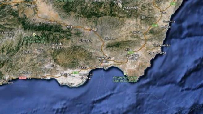 Vista vía satélite de Cabo de Gata, en Almería.