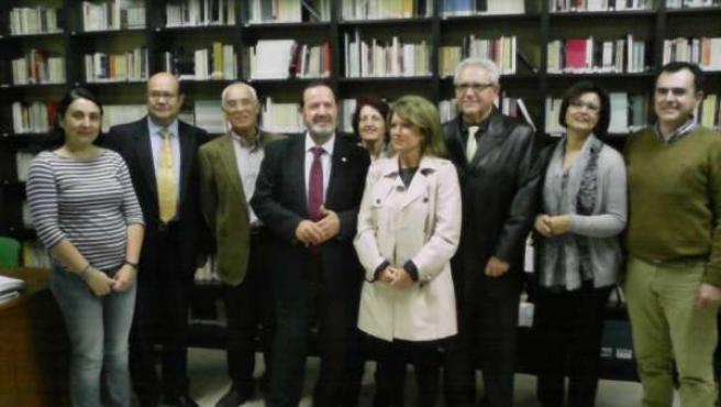 Benzal y Gómez (centro) en el IES Blas Infante
