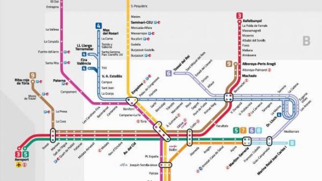 Imagen del nuevo esquema de líneas de Metrovalencia que entrará en vigor a principios de 2015