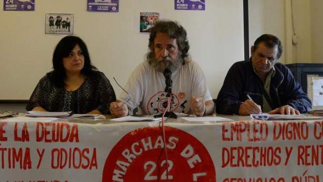 Rueda de prensa de Marchas de la Dignidad ofrecida el 21 de octubre con motivo de las protestas en los Premios Príncipe de Asturias y la Semana de Lucha.