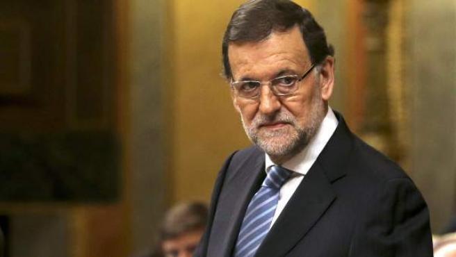 El presidente del Gobierno, Mariano Rajoy, durante su comparecencia hoy en el Congreso de los Diputados.