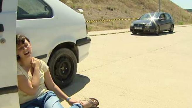 Recreación de un accidente de tráfico.