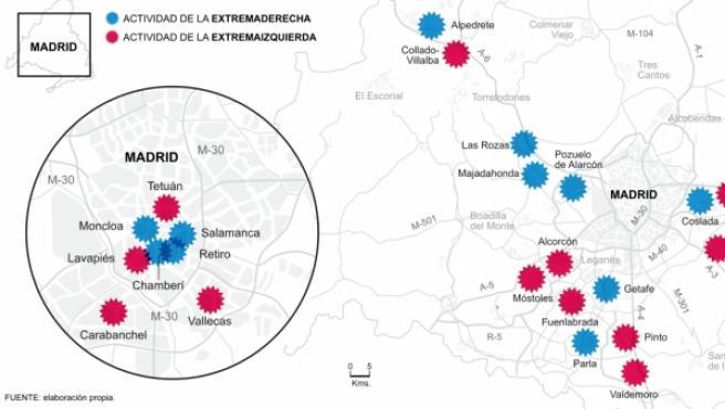 Los 'ultras' de derechas dominan la sierra norte, el noroeste y el corredor del Henares, mientras que la extrema izquierda se asienta sobre todo en la periferia de Madrid y en la zona sur de la región.