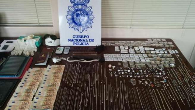 Artículos requisados por la Policía Nacional