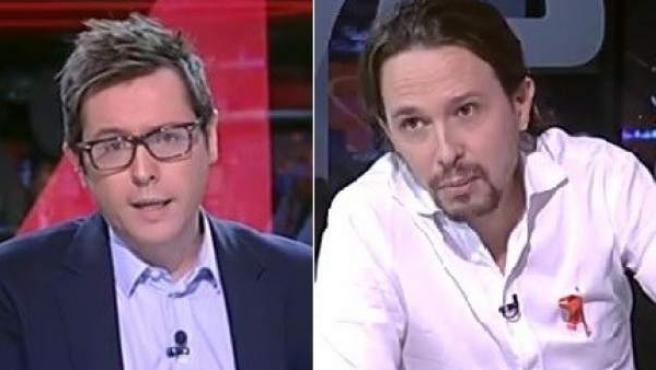 Combo de fotos entre el presentador de TVE Sergio Martín y el líder de Podemos Pablo Iglesias.