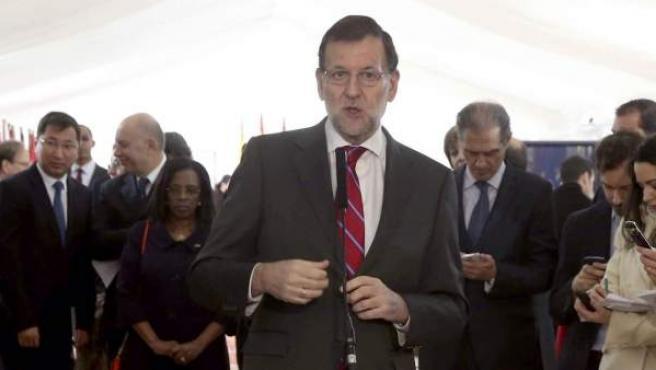 El presidente del Gobierno, Mariano Rajoy, en declaraciones durante el acto institucional de conmemoración del 36 aniversario de la Constitución.