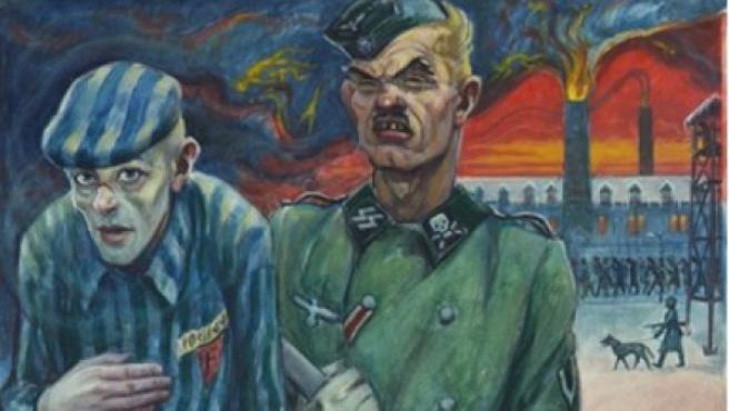 El artista David Olère se autorretrató siendo trasladado en Auschwitz por un guardia armado de las SS nazis. Al fondo, los crematorios