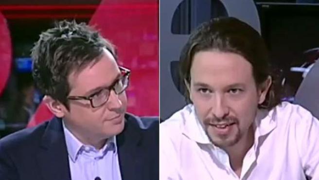 Sergio Martín y Pablo Iglesias, en instantáneas tomadas de la entrevista del pasado 5 de diciembre.