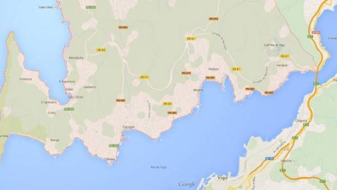 Imagen de Google Maps de la península de O Morrazo.