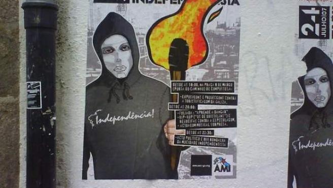 Cartel con una llamada a un acto independentista en Galicia.