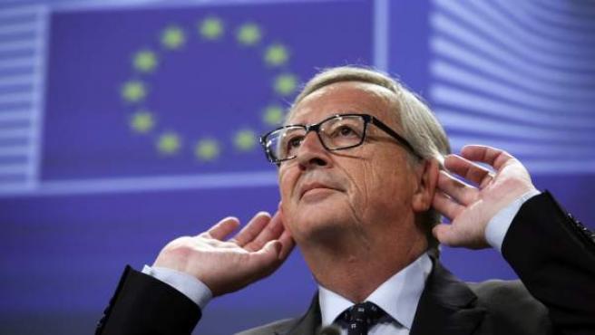 El presidente de la Comisión Europea (CE), en la rueda de prensa sobre el escándalo LuxLeaks en la sede de la Comisión de la UE en Bruselas (Bélgica) .