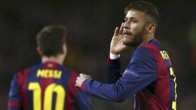 Neymar celebra el segundo gol al PSG junto a Leo Messi.