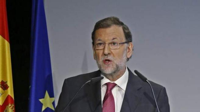 El presidente del Gobierno, Mariano Rajoy, durante su intervención en la clausura de un encuentro empresarial.