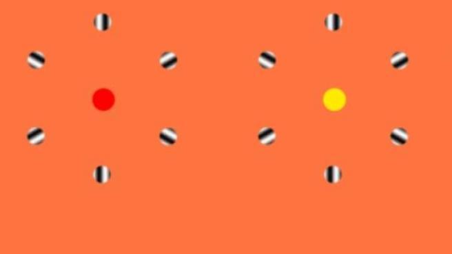 Ilusión óptica en la que según el punto (rojo o amarillo) que mires, los círculos que giran a su alrededor van en una dirección o en otra (ver el gif animado en el texto de la noticia).