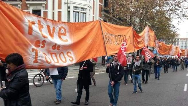 Un momento de la protesta de trabajadores de RTVE por las políticas del Gobierno en el ente público.